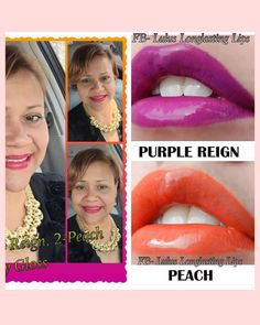 Lipsense Purple Reign and Lipsense Peach layered with Glossy Gloss. Join my FB Page @ Lulus Longlasting Lips. Lipsense is a must have for us busy women!! Once on, it lasts 4-18 hours. 70+ colors to be mixed up & create your own unique look. Different gloss applications to change it up also. It's Kiss Proof, waterproof, sweat proof. #luluslonglastinglips #lipsense #lips  #budgeproof #smudgeproof #senegence #bealipboss #beyourownboss #liquidlipstick  #glutenfree #vegan