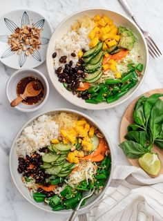 Mango Black Bean Ginger Rice Bowls - a healthy veggie-packed weeknight dinner Fresh veggies accented with mango basil pickled ginger and spicy tamari-lime dressing make this bowl delicious and satisfying Love and Lemons mealprep lunch healthyrecipes Healthy Summer Recipes, Vegetarian Recipes, Vegetarian Kids, Whole Food Recipes, Dinner Recipes, Kid Recipes, Dinner Ideas, Chicken Recipes, Basil Recipes
