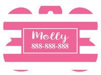 Personalized Pink Stripe Bone Pet Tag with Steelheart Font