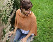 Poncho Châle en tricot de bambou écologique - Nuances orange d'automne