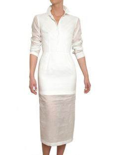 Jil Sander White Cotton Organdy Dress