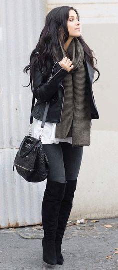 #winter #fashion /  Black Leather Jacket + Green Scarf