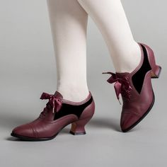 PRE-ORDER Lucille Edwardian Oxfords (Merlot/Black)(1900-1925) – American Duchess Leather Heels, Calf Leather, Satin Shoes, Gothic Outfits, Leather Cover, American, Navy And White, Calves, Two By Two