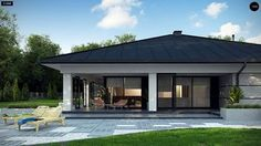 Z378 Проект ститьного одноэтажного дома с просторной террасой и с гаражом на два автомобиля S3-186-5