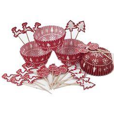 JULE TEMA! Fint muffins cupcake sæt med bageforme og pynt. Søde til enhver julefest og julefrokost!