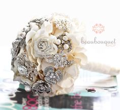 Bridal Bouquet MEDIUM Size Crystal Brooch Heirloom Bridal Bouquet