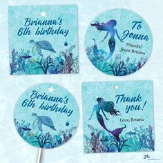 """Mermaid Watercolor Under the Sea Printable Party Images, Editable PDF Instant Download 2""""x2"""" seals, stickers, tags, buttons, cupcake toppers Favor Tags, Gift Tags, Under The Sea Images, Mermaid Kids, Printable Water Bottle Labels, Thank You Stickers, Printing Labels, Printable Stickers, Party Printables"""