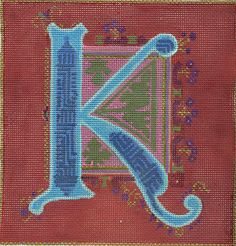 "Alphabet K by Diane Dirks for Ruth Schmuff Designs      9230K - 13ct    Illuminated Letter K handpainted on 13ct. Other letters available. 8"" x 8"" Hand painted on 13ct."