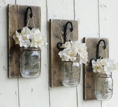 Hanging Mason Jars Filled with Flowers