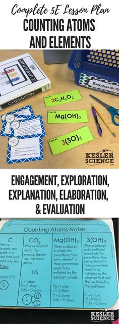 Counting Atoms and Elements 5E Lesson Plan ready to print and teach the entire chemistry unit. Includes word wall of vocabulary, interactive science notebook template, presentation and note worksheet, and student choice final project. Complete station lab activity is also included where students will read, research, watch, explore, illustrate, organize, write, and be assessed. Grades 5th 6th 7th 8th 9th