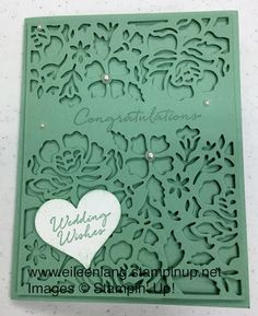 This was a very popular card at my June stamp classes this week. The Floral Thinlits are just beautiful, and you can turn this into a. Anniversary Crafts, Wedding Anniversary Cards, Wedding Invitation Cards, Wedding Cards, Hand Made Greeting Cards, Making Greeting Cards, Embossed Cards, Die Cut Cards, Stamping Up Cards