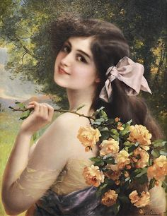 621c80c5505 View Jeune femme aux roses 1911 by Emile Vernon on artnet. Browse upcoming  and past auction lots by Emile Vernon.