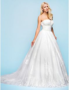 Classic & Timeless/Glamorous & Dramatic Ball Gown/A-line Strapless Chapel Train Wedding Dress ( Organza/Tulle )