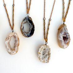 Geode slice with Brass Wheat Chain, $38.00, #jewelry