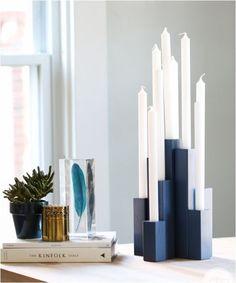 Wooden dowel candlesticks