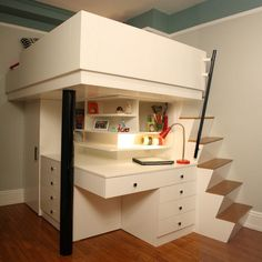 Space Saver Beds For Kids twin loft bed with storage, desk, dresser, trundle in one | kids