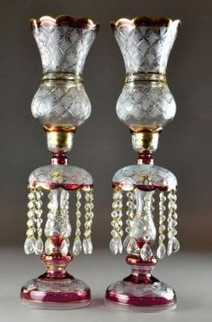 374: Pr. Victorian Cut Glass Luster Lamps with Shades : Lot 374