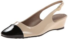 Soft Style by Hush Puppies Women's Shirly Dress Pump, New Taupe/Black Patent Polyurethane, 7 XW US. Slingback pump with polished cap toe and subtle concealed wedge heel. Adjustable buckle slingback strap.