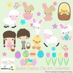 Easter Kids Children  Digital Clipart clip art by Dragonflytwist, $6.00
