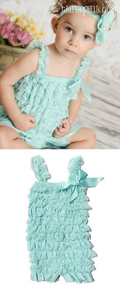 Our rompers are made from layers of lace and are very stretchy and comfortable. All of our Rompers come with straps. Explore little girls clothing at https://www.etsy.com/listing/107178501/sale-aqua-petti-lace-romper-lace-petti?utm_source=OpenGraph&utm_medium=PageTools&utm_campaign=Share | Kids Fashion