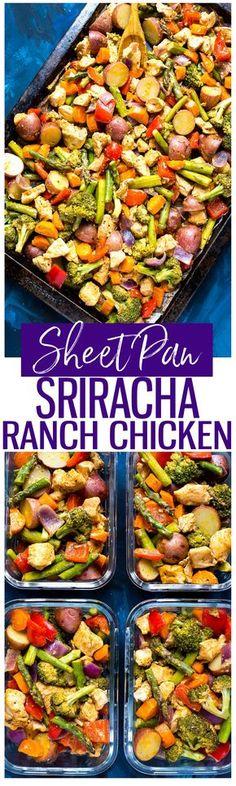 Sheet Pan Sriracha Ranch Chicken is a super easy and healthy 30-minute dinner and doubles as your weekly lunch prep!