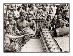 Part of a gamelan orchestra. Date and photographer unknown.