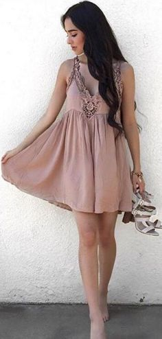 #spring #fashion #outfitideas  Dusty Pink Lace Dress                                                                             Source