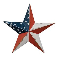 Large Americana Barn Star Red Navy Blue Antiqued White Stars Country Primitive Patriotic Decor
