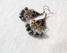 Snowflake Jasper Bronze Earrings from juta ehted - my jewelry shop by DaWanda.com