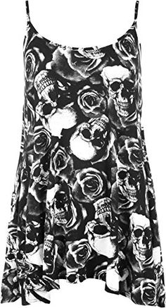 WearAll Women's New Strappy Skull Rose Print Camisole Vest Top - Black White - US 8-10 (UK 12-14)