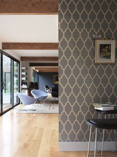 Tesella wallpaper features a trellis design in metallic gold & grey. Eco-friendly wallpaper made in the UK by Farrow & Ball, buy it today! Metallic Wallpaper, Geometric Wallpaper, Print Wallpaper, Home Wallpaper, Colorful Wallpaper, Geometric Lines, Hallway Wallpaper, Bedroom Wallpaper, Letters
