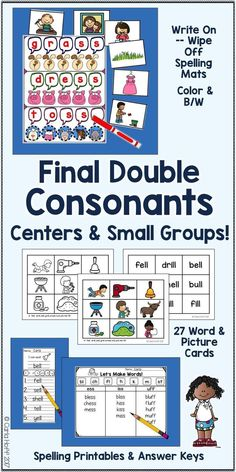 Practice reading and spelling short vowel words ending with double consonants (-ff, -ll, -ss) using this versatile set of spelling mats, picture and word cards, and spelling printables. Perfect for centers or small group work! Easy prep for you, maximum engagement for your students!