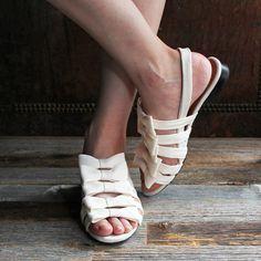F-TROUPE - Satin Bow Sling Back Sandal (Ivory) / エフトゥループ・リボンサンダル