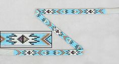 "Native American Beadwork Hat Bands    Navajo Sheri Jackson's light blue/multi starflame pattern hat band: Worked in 14º seed beads using black, pearl white, metallic gold, tan and deep iridescent magenta on a light blue background, the loomwork is just over 1/2"" high x 22-3/8"" long.  $83.25"