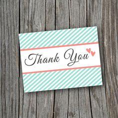 Thank You Card  Printable Custom DIY  Modern by SplashOfSilver, $8.50