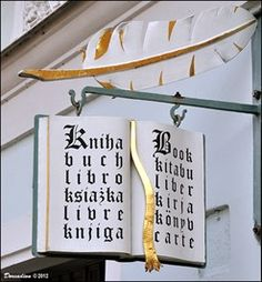"Knihkupectví / Book Store ""U Stríbrného groše"" - Kutná Hora (Central Bohemia) - Unique Artistic Shop Signs on Waymarking.com"