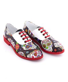 Love this Back Sugar Skull Oxfords on #zulily! #zulilyfinds