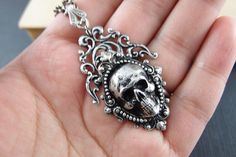 Ash No.3Aged sterling silver plated brass skull by UpBrass on Etsy