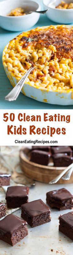 This is a huge list of 50 Clean Eating recipes for kids with a big image for each recipe so it's really easy to find good, real recipes for my kids.
