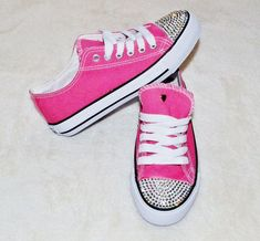 86508aeb6b58ed Blinged pink converse.... all Pink Shoes under  40 me and Ales could