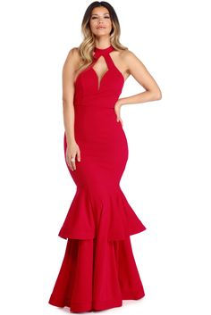 Macey Red Ruffled Gown