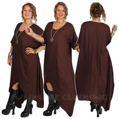 SUNHEART GODDESS bohemian Hippie chic Dark Chocolate Brown HERA asym hi-low lagenlook layering Tunic or Dress Sml-Med-Large-xl-1x-2x-5x