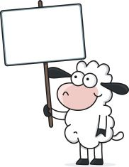 cartoon sheep holding a blank sign vector art illustration   The Lord is my shepherd