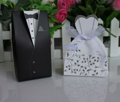 100pcs Bride and Groom box Wedding Favor Boxes Gift box Tuxedo Candy box