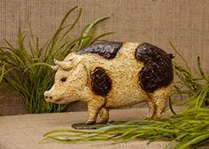 New Country Farmhouse Chic METAL STANDING SPOTTED PIG Statue Figurine #Country