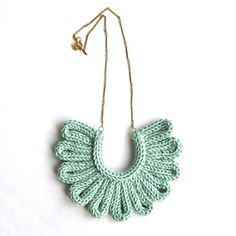Sea Foam green hand knitted necklace