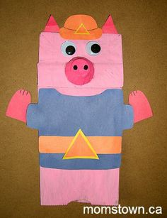 P is for Paper Bag Pig Puppets Farm Animal Crafts, Farm Crafts, Farm Animals, Summer Camp Art, Book Activities, Puppets, Paper, Bags, Handbags