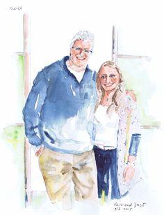 Een gelukkige vader met zijn dochter. evv
