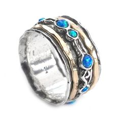 Israeli Jewelry Silver Spinning Ring with Goldfilled bands and Opal