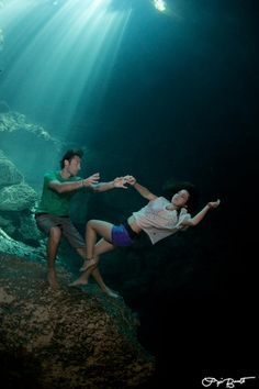 Surreal image from the Prawno shoot in the cenotes near Tulum, Mexico. This shot was taken in the Pit Cenote.